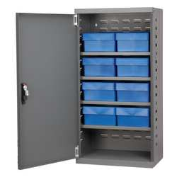 D5345 Cabinet Gray Steel Door 8 Blue Drawers