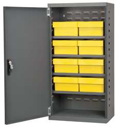D5345 Cabinet Gray Steel Door 8 Yellow Drawers