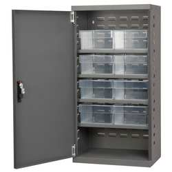 D5345 Cabinet Gray Steel Door 8 Clear Drawers