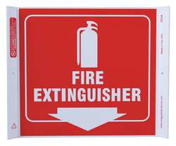 Fire Extinguisher Sign 10 x 10In WHT/R