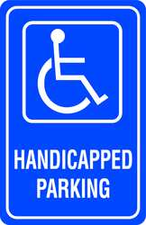 D9643 Parking Sign 18 x 12In WHT/BL G-42 HDCP