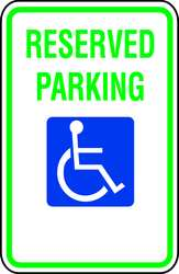 D9648 Parking Sign 18 x 12In GRN and BL/WHT