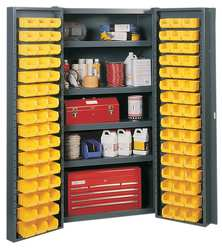 Bin Storage Cabinet 96 Bins 4 Shelves