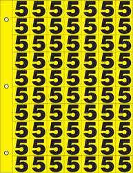 Number Label 5 Black/Yellow