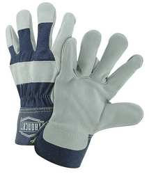 Lthr Palm Gloves Cowhide Blu/Gray S PK12