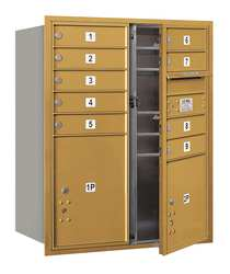 Horiz Mailbox MB1 11Dr Gold FL 37-1/2in