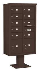 Pedestal Mailbox 11 Door Bronze 70-1/4in