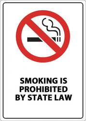 No Smoking Sign State Law 7inW Aluminum