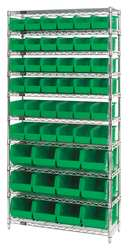 G7059 Bin Shelving Wire 36X14 48 Bins Green