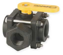 Polypropylene Ball Valve 3-Way FNPT 1 In