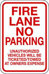 Fire Lane Sign 18 x 12In R/WHT ENG Text