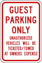 Parking Sign 18 x 12In R/WHT Text