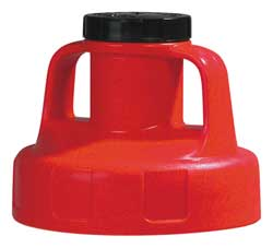G3512 Utility Lid w/2 In Outlet HDPE Red