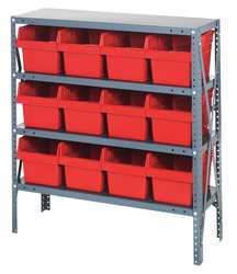 Bin Shelving Steel 36x18x39 12 Bins Red