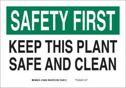 Safety Sign 10 x 14In Blk and Green/Wht