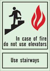 Fire Exit Sign 10 x 7In Red/Blk and Grn
