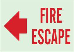 Fire Exit Sign 10 x 14In Red/Green