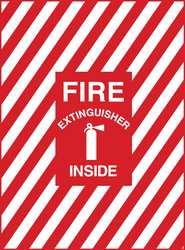 Fire Extinguisher Sign 7 x 10In Wht/Red