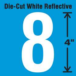 Die-Cut Reflective Number Label 8 PK5