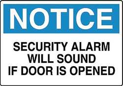 Notice Security Sign 10 x 14In ENG Text