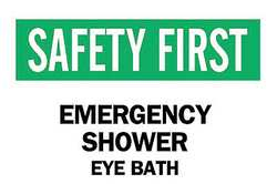 Safety Shower Sign 7 x 10In ENG Text