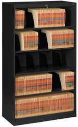 Open Fixed File Black 5 Shelves