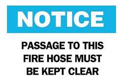 Fire Hose Sign 10 x 14In BL and BK/WHT
