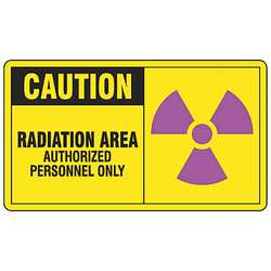 Caution Radiation Sign 7 x 10In Self-ADH