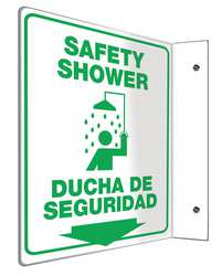 Safety Shower Sign 12 x 9In GRN/WHT