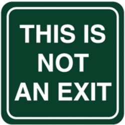 No Exit Sign 5-1/2 x 5-1/2In WHT/R ENG