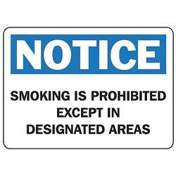 No Smoking Sign 7 x 10In BL and BK/WHT