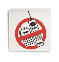 Phone Sign 5-1/2 x 5-1/2In R and BK/WHT