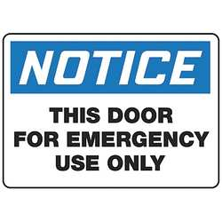 Fire Door Sign 10 x 14In BK and BL/WHT