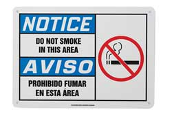 Notice No Smoking Sign 7 x 10In PLSTC