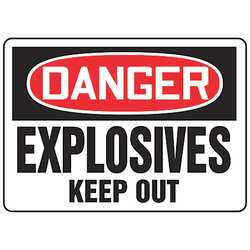 Danger Sign 10 x 14In R and BK/WHT ENG