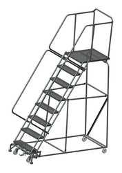 Safety Rolling Ladder Steel 80 In.H