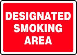 Smoking Area Sign 10 x 14In WHT/R ENG